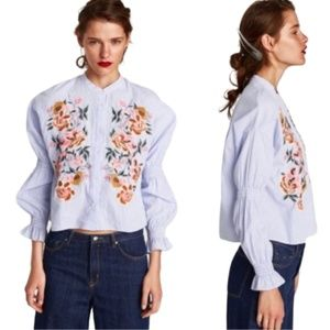 💋SALE! NWT! Zara Navy Floral Embroidery Blouse